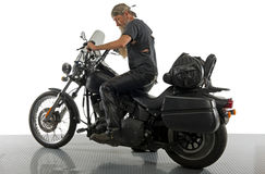 Biker prepares his ride Stock Photography