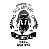 Biker quote with dog for garage, service, t-shirt, spare parts Vector image Stock Photography
