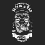 Biker quote with dog for garage, service, t-shirt, spare parts Vector image Stock Image