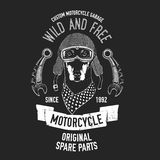 Biker quote with dog for garage, service, t-shirt, spare parts Vector image Royalty Free Stock Photo