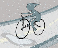 Biker in the rain. Illustration of a stylised biker driving in the rain Stock Photos