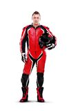 Biker in red full length Royalty Free Stock Photos