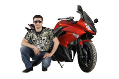 Biker with red motorcycle Royalty Free Stock Images