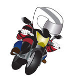 Biker red suit. Biker red race vehicle asphalt vector illustration