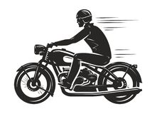 Biker rides a retro motorcycle, silhouette. Motorsport, motorbike concept. Vector illustration. Isolated on white background royalty free illustration