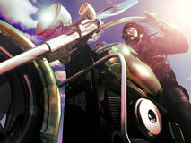Biker riding. Close view to a biker enjoying a freedom ride under the sun and a blue sky. The empty and straight road is visible in his sunglasses stock illustration