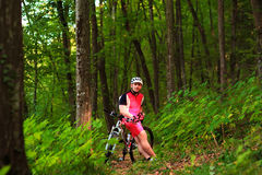 Biker riding on bicycle in wood Stock Photography