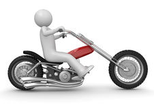 Biker riding chopper Royalty Free Stock Images