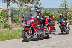 Biker riding Honda Goldwing. Biker riding a Japanese luxury cruise motorbike Honda Goldwing in motorcycle rally Mototagliatella on May 10, 2015 in Predappio royalty free stock images