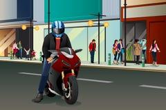 Biker Riding Motorbike Royalty Free Stock Photos