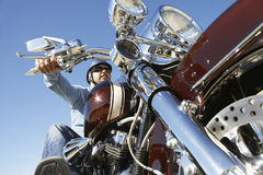 Biker Riding Motorcycle Royalty Free Stock Photography