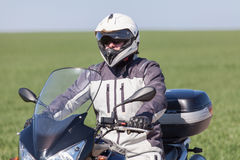 Biker riding on a motorcycle. Driving on a motorcycle tour journey Stock Photos