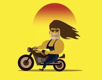 Biker riding motorcycle. Stock Photo