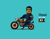 Biker riding motorcycle. Royalty Free Stock Photography