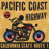 Biker riding a motorcycle poster text Pacific Coast Highway Stock Images