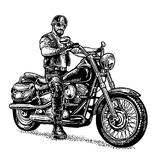 Biker riding a motorcycle. Vector engraved illustration Stock Image