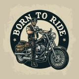 Biker riding a motorcycle. Vector engraved illustration. Man in the motorcycle helmet and glasses riding a classic chopper bike. Side view. Born to ride stock illustration