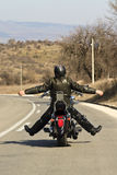 Biker on the road Royalty Free Stock Photography