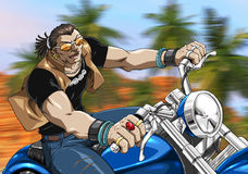 Biker on the road. A cartoon style picture of an american biker on a cjopper Stock Image