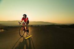 Biker on road bike Royalty Free Stock Photos