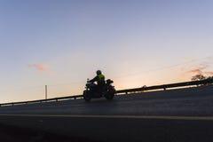 Biker Road Dawn Stock Photo