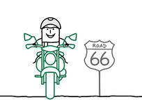 Biker on the road. Hand drawn cartoon characters royalty free illustration