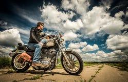 Biker on the road Stock Photo