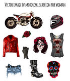 Biker's  fashion in style Day of the Dead Stock Image