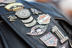 Biker`s leather jacket. Harley-Davidson`s member biker leather jacket royalty free stock image
