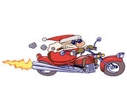 Biker Santa. Santa Claus riding his motor bike with determination and attitude, leather jacket not included Stock Photo