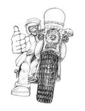 Biker showing finger symbol like and great drawing Stock Photos