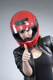 Biker Showing Ok Sign Royalty Free Stock Photography