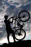 Biker silhouette Royalty Free Stock Photos