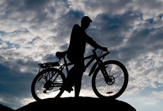 Biker silhouette Royalty Free Stock Photo