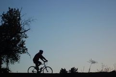 Biker Silhouette. A silhouette of a mountain biker on a trail just after sunset Royalty Free Stock Photography