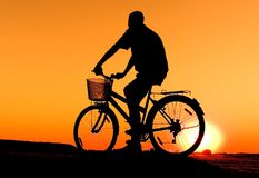 Biker silhouette Stock Photography