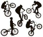 Biker silhouettes set Stock Images