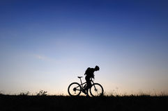 Biker Silhoutte Royalty Free Stock Photography