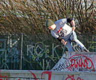 Biker at skate park Royalty Free Stock Image