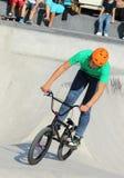 Biker on the skatepark Royalty Free Stock Image