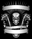 Biker skeleton riding motorcycle with banners graphic. Aggressive motorcycle biker skull with hands high on the handle bars, evil grin, and banners for your stock illustration