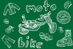 Biker sketches in school style Stock Photography