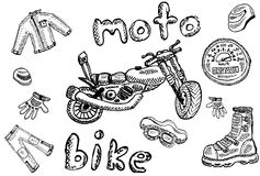 Biker sketches in school style Royalty Free Stock Photo