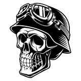 Biker skull. With helmet. Motorcycle rider. Isolated on white background Royalty Free Stock Photos