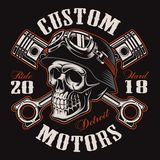 Biker skull with crossed pistons t-shirt design color version. Biker skull with crossed pistons. Shirt graphic. All elements, colors, text curved are on the Royalty Free Stock Photography