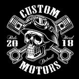 Biker skull with crossed pistons t-shirt design monochrome. Biker skull with crossed pistons. Shirt graphic. All elements, colors, text curved are on the Royalty Free Stock Photography