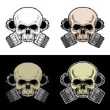 Biker skull with double piston Royalty Free Stock Image