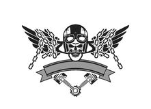 Biker Skull Emblem Stock Photography