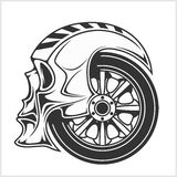 Biker skull - racing symbol. On white Stock Photography