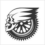 Biker skull - racing symbol. On white Stock Photo